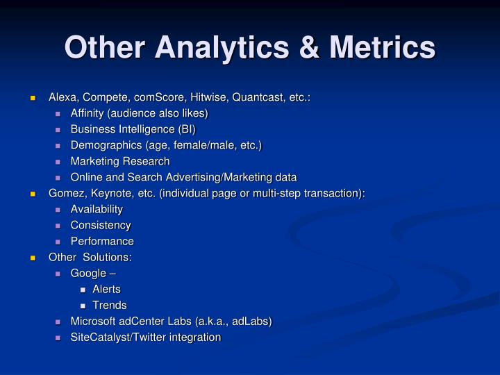 Other Analytics & Metrics