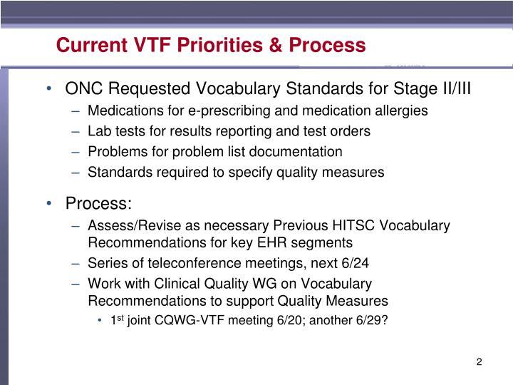 Current VTF Priorities & Process