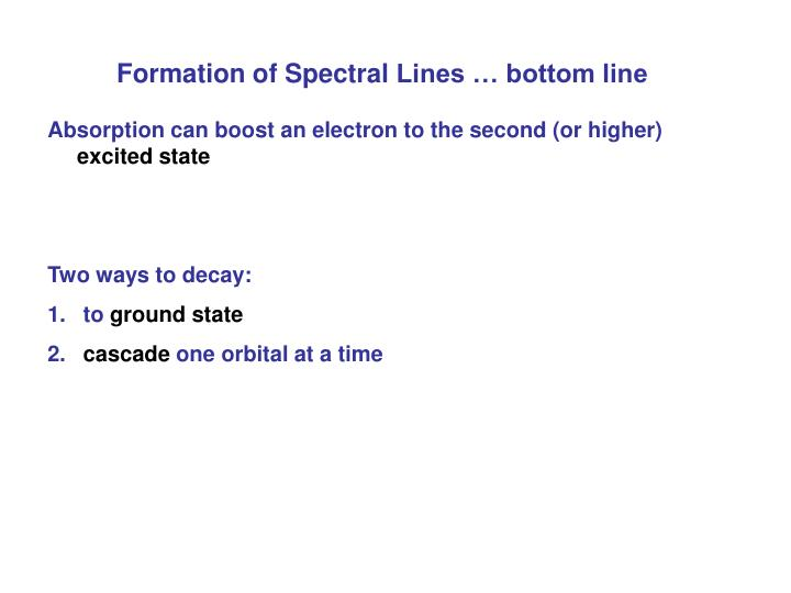 Formation of Spectral