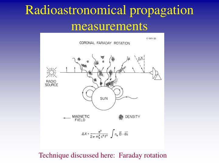 Radioastronomical propagation measurements