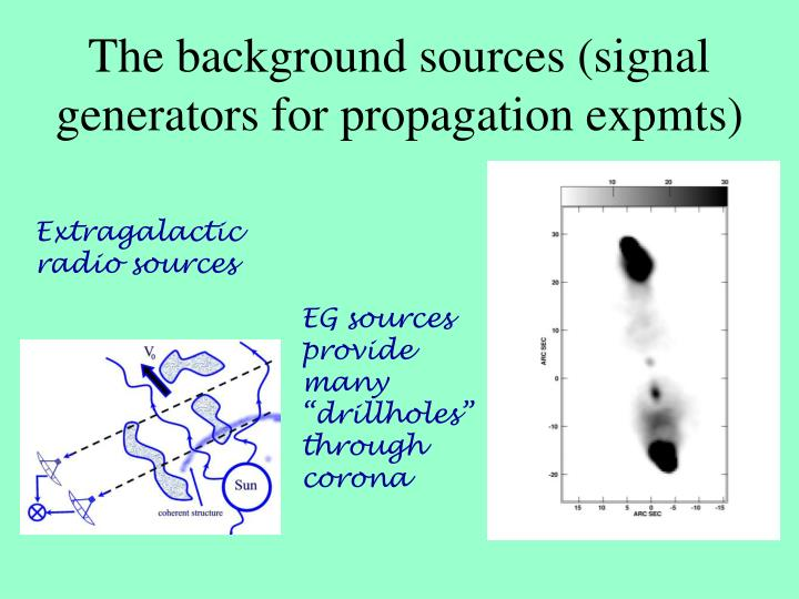 The background sources (signal generators for propagation expmts)