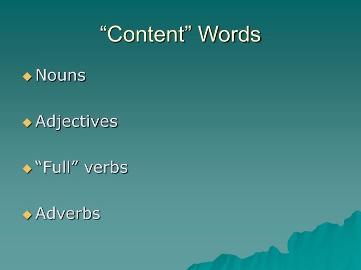 """Content"" Words"
