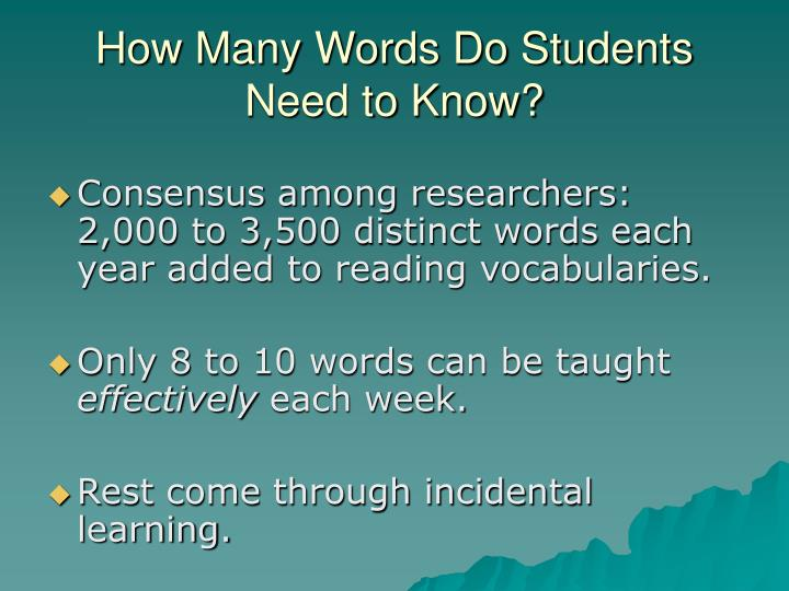 How Many Words Do Students Need to Know?