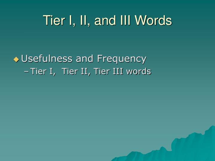 Tier I, II, and III Words