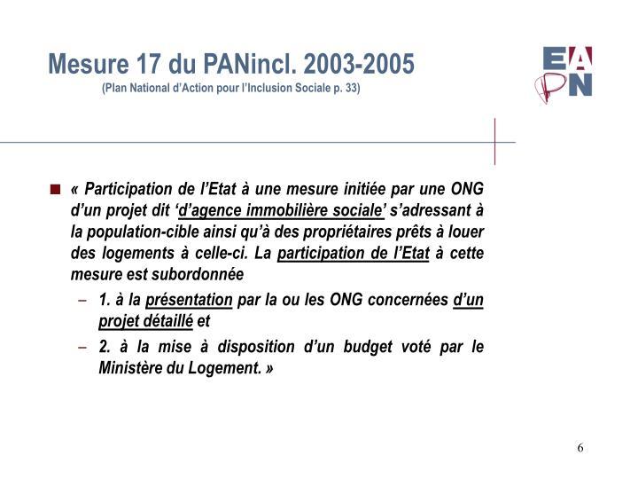 Mesure 17 du PANincl. 2003-2005
