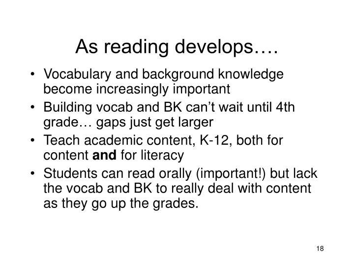As reading develops….