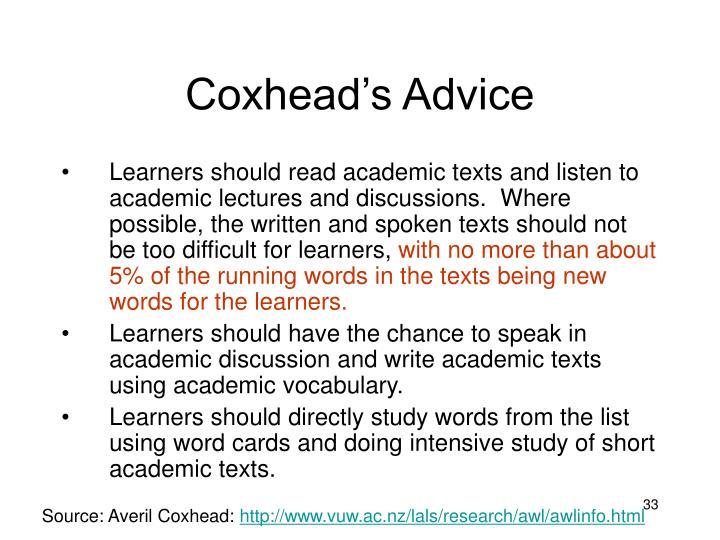 Coxhead's Advice