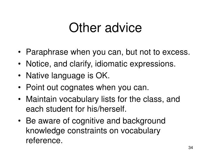 Other advice