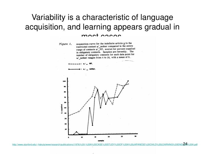 Variability is a characteristic of language acquisition, and learning appears gradual in most cases.