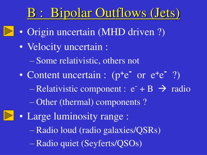 B :  Bipolar Outflows (Jets)