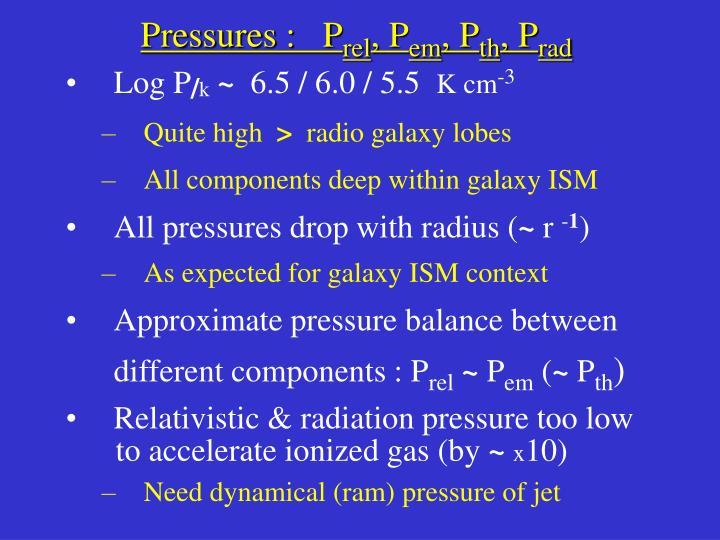 Pressures :   P