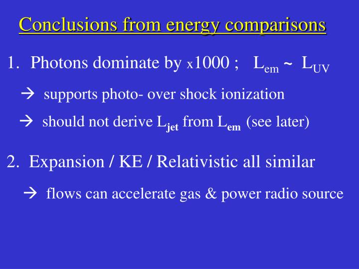 Conclusions from energy comparisons
