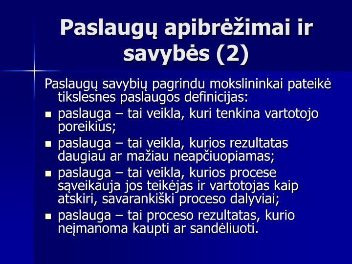 Paslaugų apibrėžimai ir savybės (2)