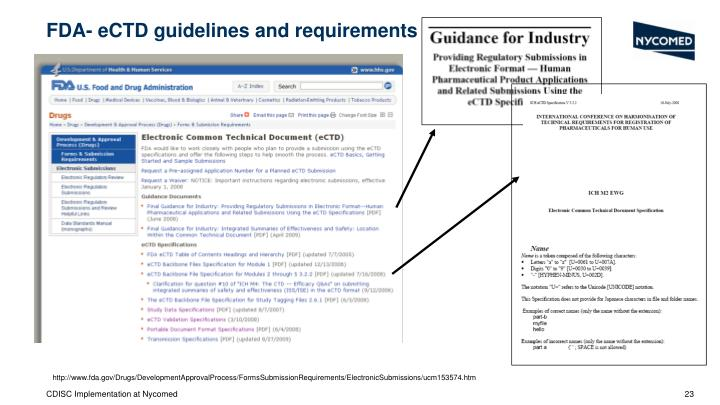 FDA- eCTD guidelines and requirements