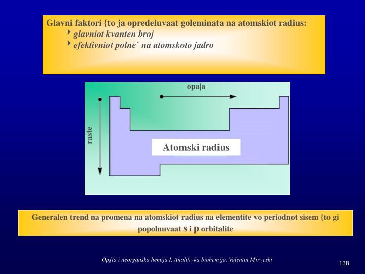 Glavni faktori {to ja opredeluvaat goleminata na atomskiot radius: