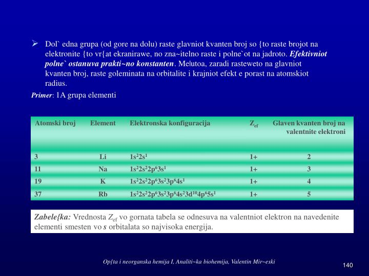 Dol` edna grupa (od gore na dolu) raste glavniot kvanten broj so {to raste brojot na elektronite {to vr{at ekranirawe, no zna~itelno raste i polne`ot na jadroto.