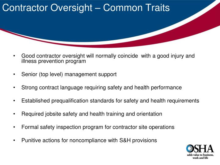 Contractor oversight common traits