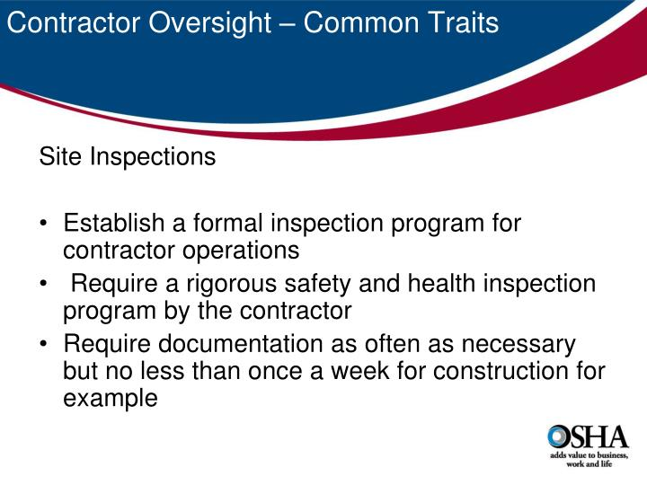 Contractor Oversight – Common Traits
