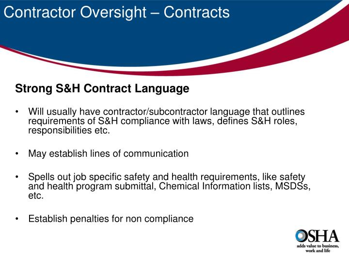 Contractor Oversight – Contracts