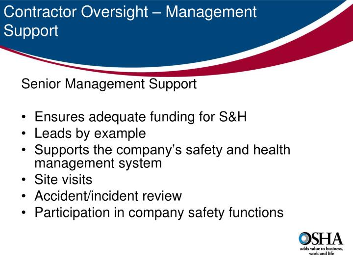 Contractor Oversight – Management Support