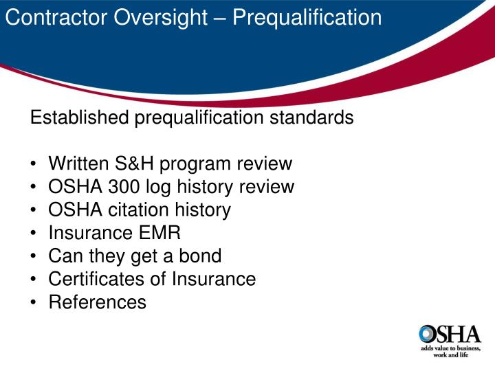Contractor Oversight – Prequalification