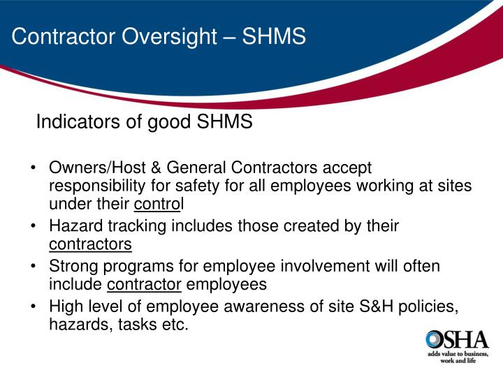 Contractor Oversight – SHMS