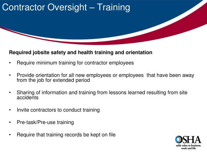 Contractor Oversight – Training
