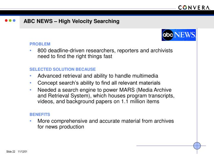 ABC NEWS – High Velocity Searching