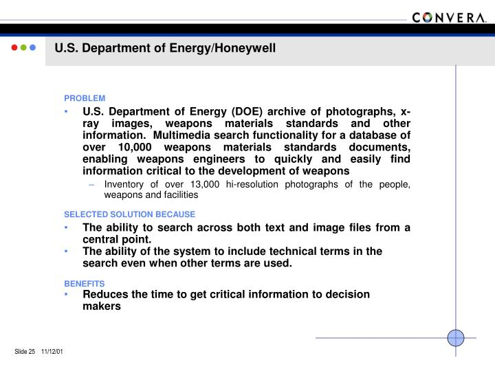 U.S. Department of Energy/Honeywell