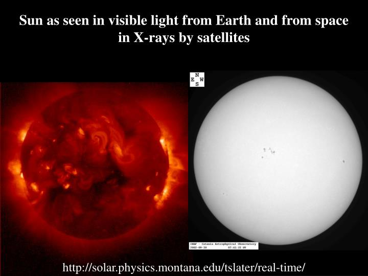 Sun as seen in visible light from Earth and from space in X-rays by satellites