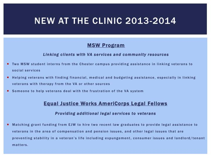 New at the clinic 2013-2014