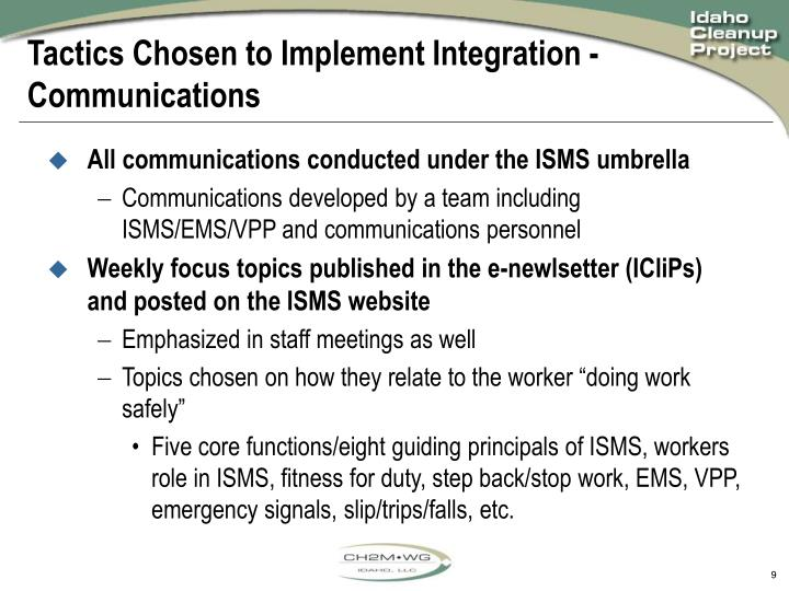 Tactics Chosen to Implement Integration - Communications