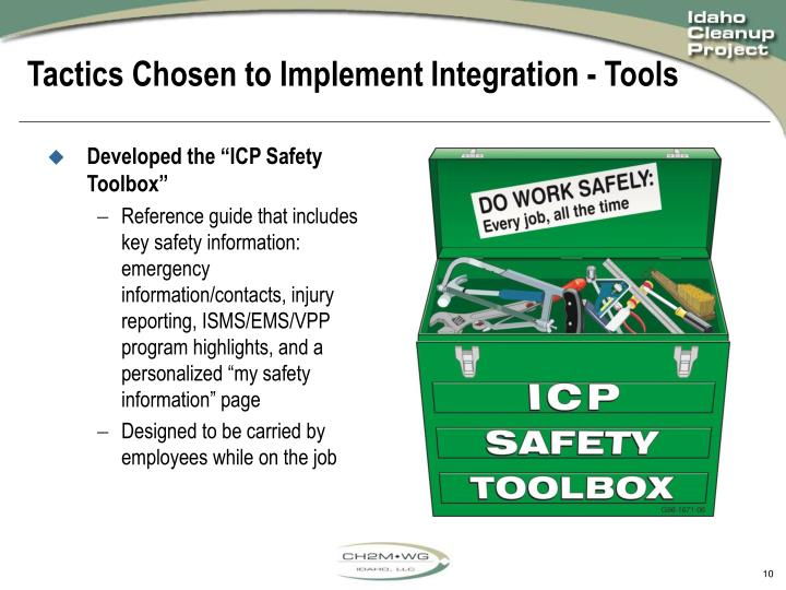 "Developed the ""ICP Safety Toolbox"""