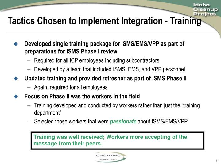 Tactics Chosen to Implement Integration - Training
