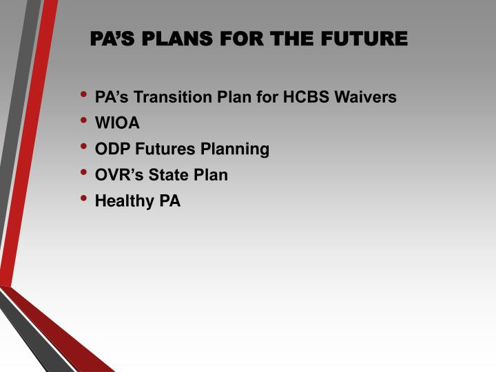 PA'S PLANS FOR THE FUTURE