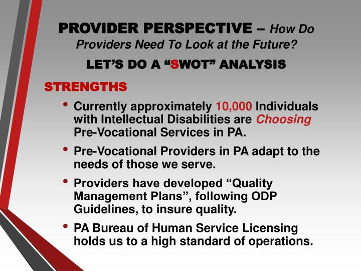 PROVIDER PERSPECTIVE –