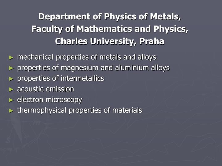Department of Physics of Metals,