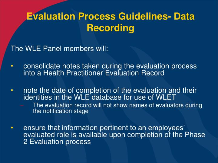 Evaluation Process Guidelines- Data Recording