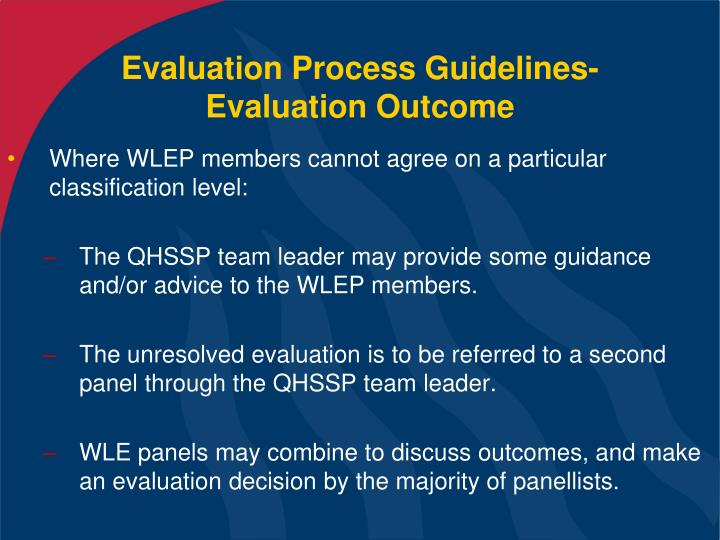 Evaluation Process Guidelines- Evaluation Outcome