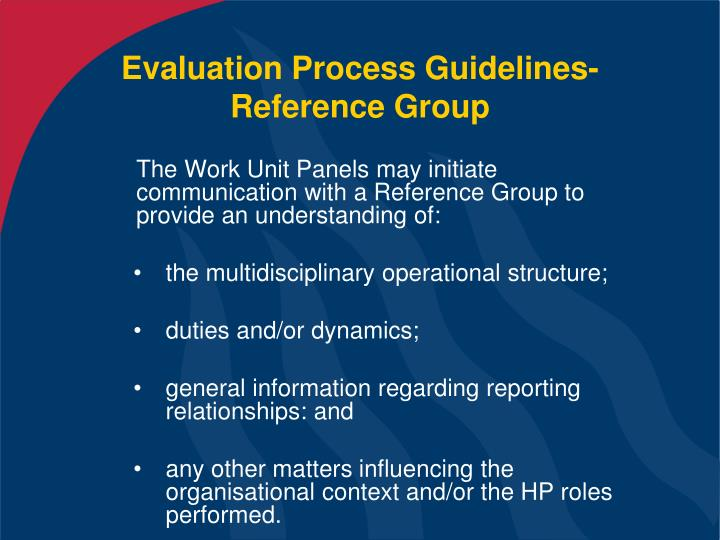 Evaluation Process Guidelines- Reference Group