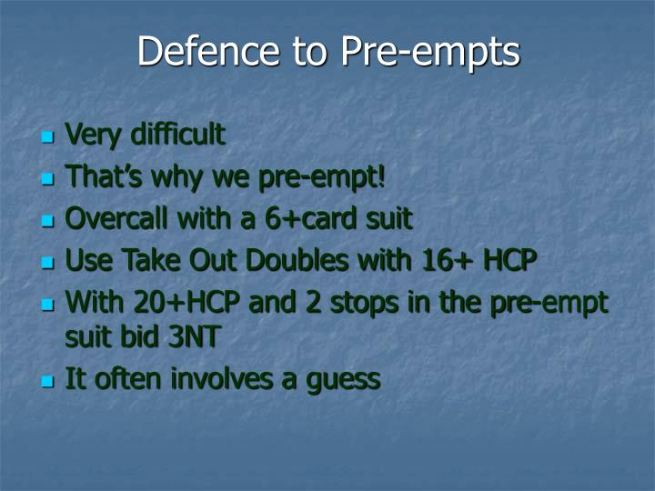 Defence to Pre-empts