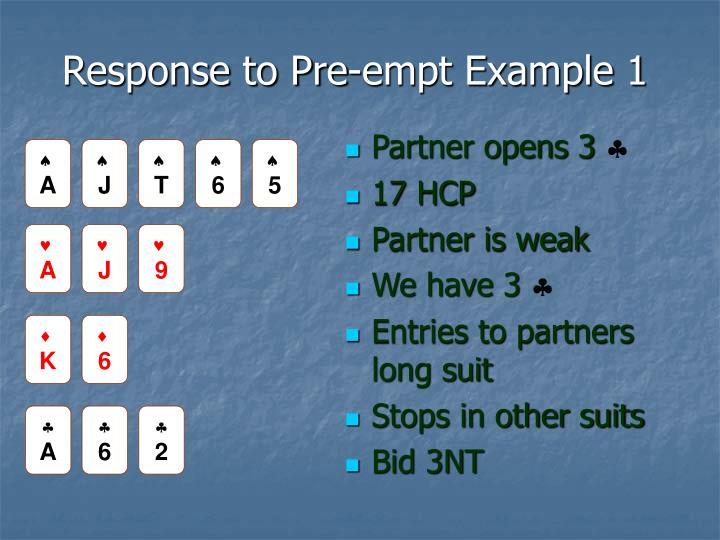 Response to Pre-empt Example 1