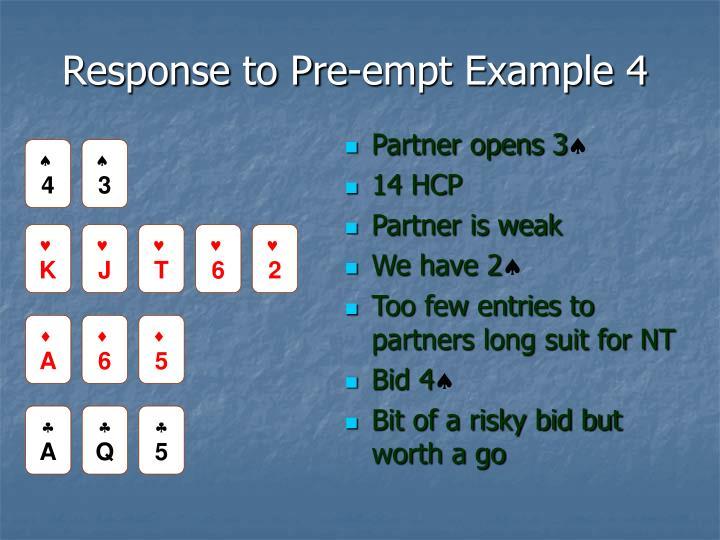 Response to Pre-empt Example 4
