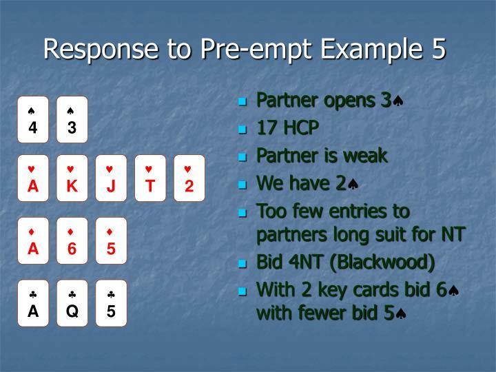 Response to Pre-empt Example 5