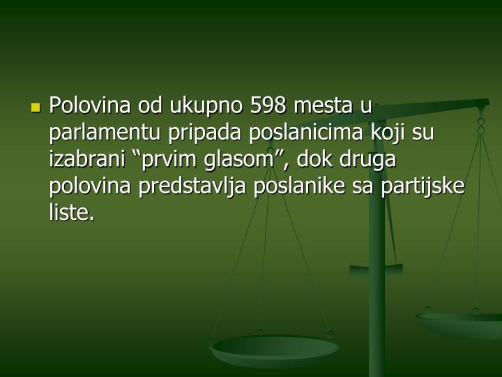 """Polovina od ukupno 598 mesta u parlamentu pripada poslanicima koji su izabrani """"prvim glasom"""", dok druga polovina predstavlja poslanike sa partijske liste."""