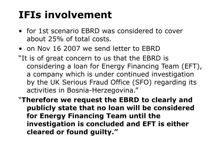 IFIs involvement