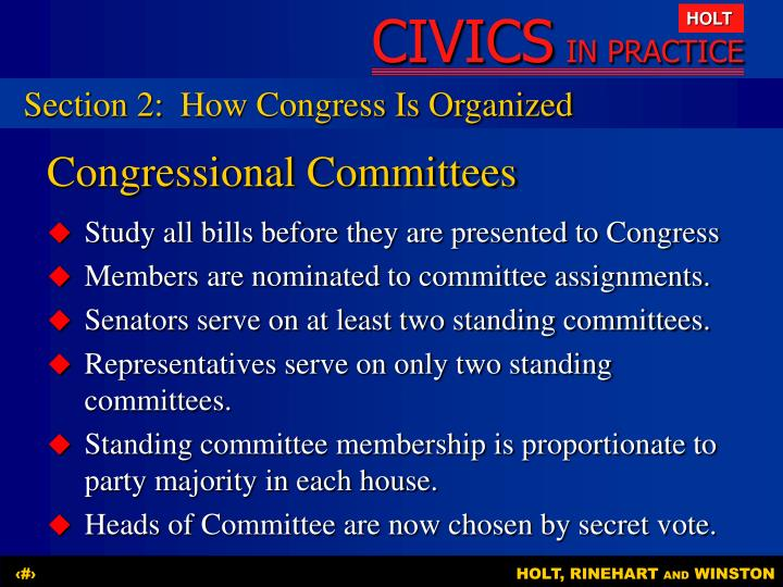 Section 2:	How Congress Is Organized