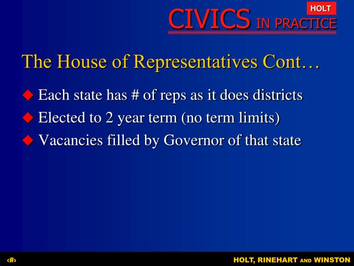 The House of Representatives Cont…