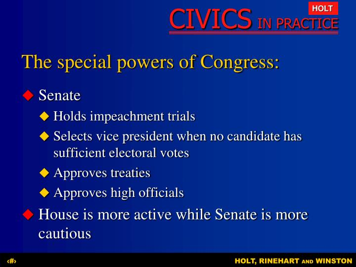 The special powers of Congress: