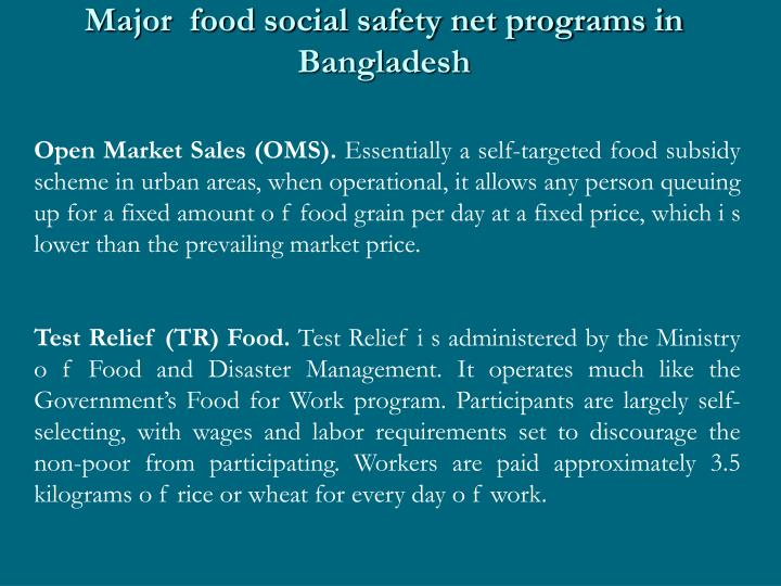 Major  food social safety net programs in Bangladesh